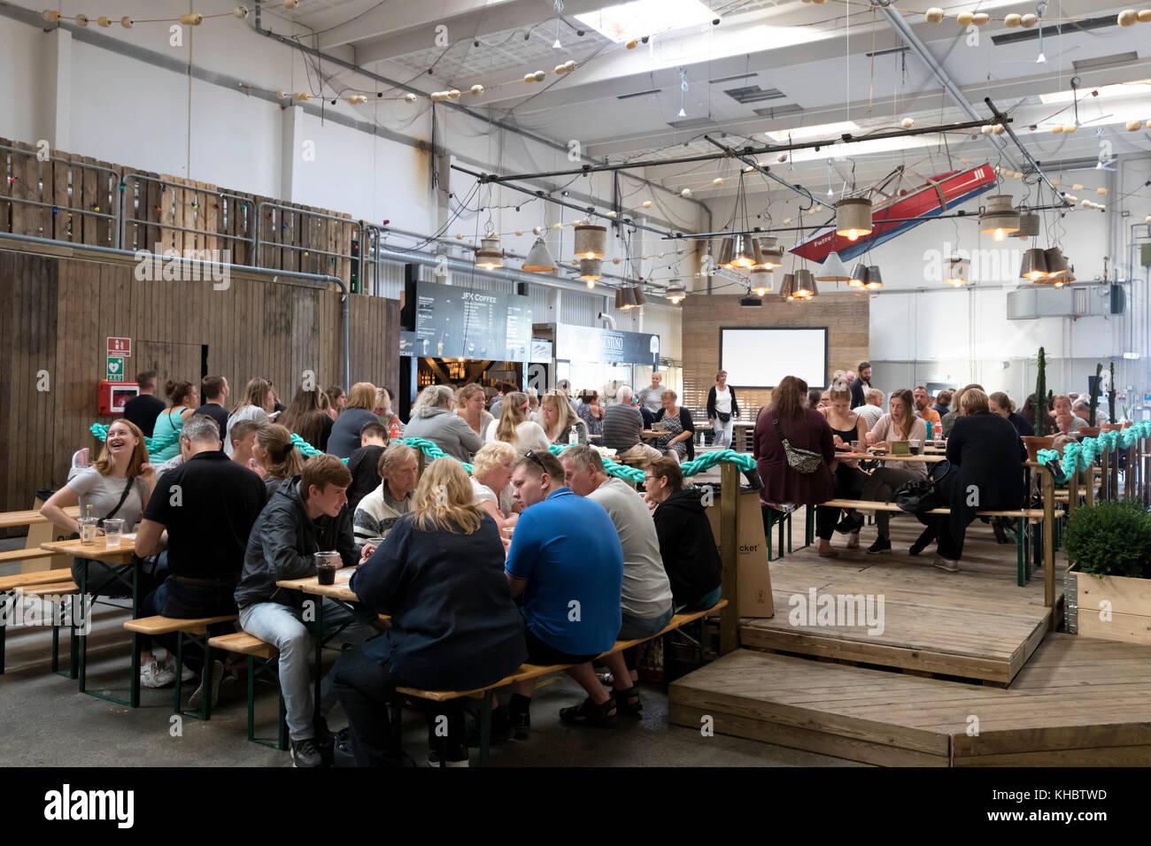 Interior of Boatyard Food Market, Helsingor, Zealand, Denmark, Europe - Stock Image
