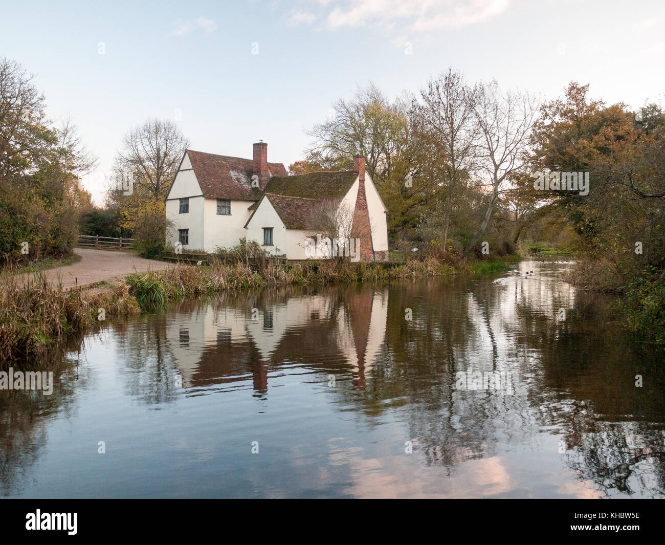 Willy lotts flatford mill cottage constable country haywain painting river; essex; england; uk Stock Photo