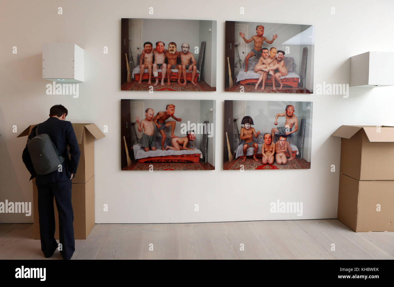 NOTE CONTENT An artwork depicting world leaders past and present on display at the Saatchi Gallery's Art Riot: - Stock Image