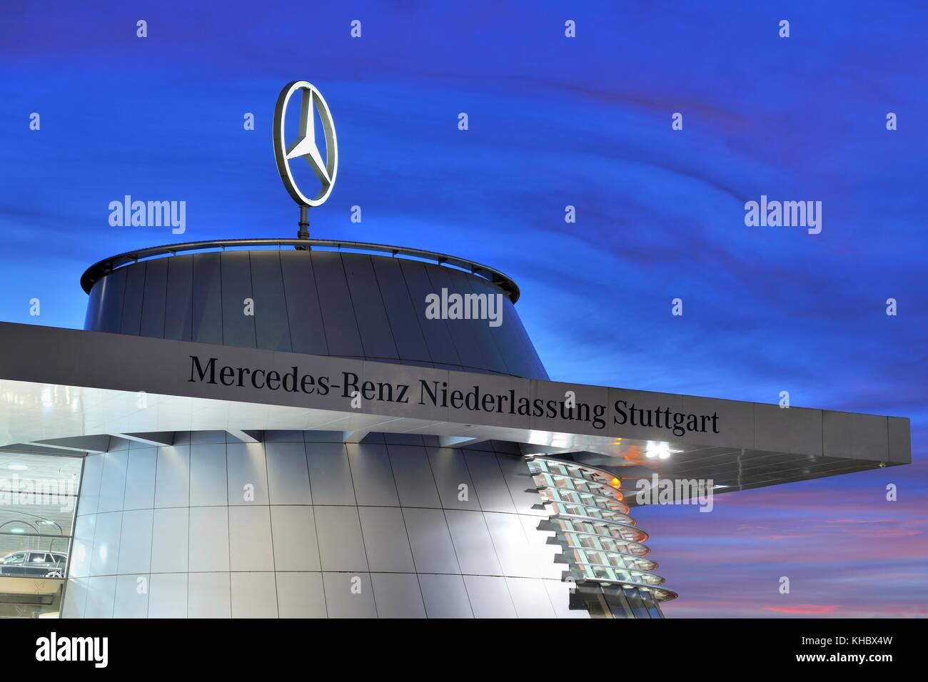 Mercedes Benz branch Stuttgart, Baden-Württemberg, Germany - Stock Image