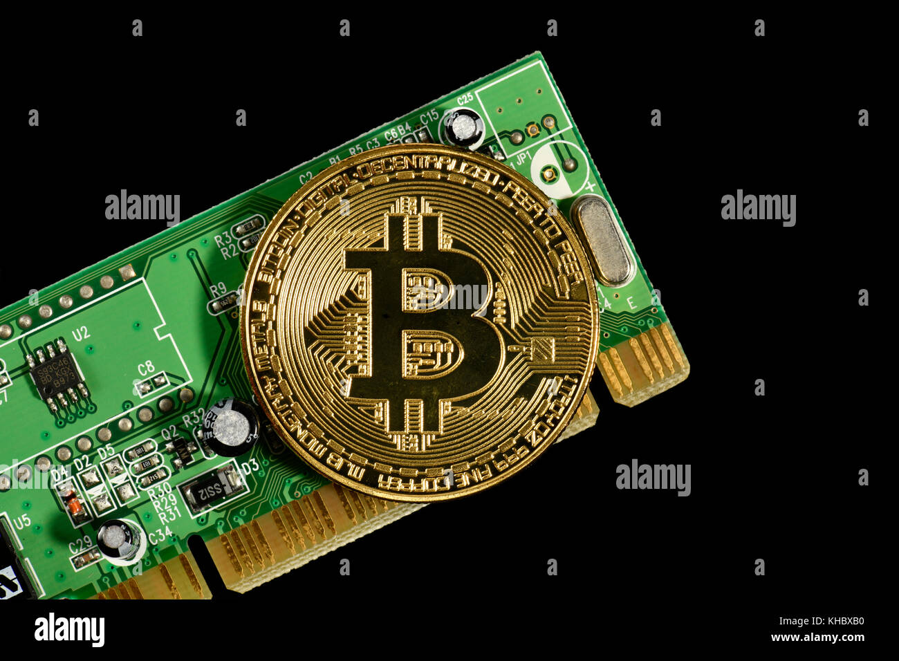 Symbol image digital currency, gold physical coin Bitcoin on printed ...