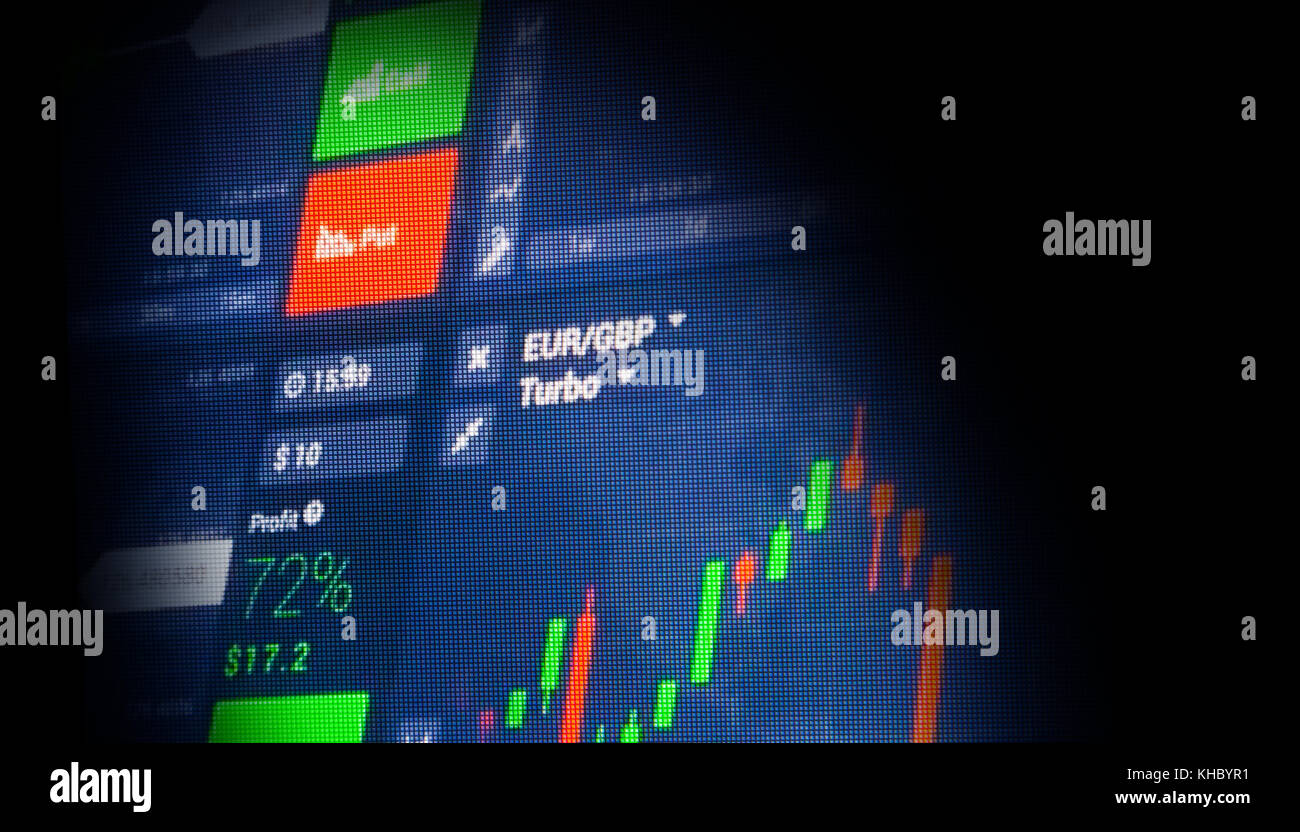 Stock market chart, Stock market data in blue on LED display