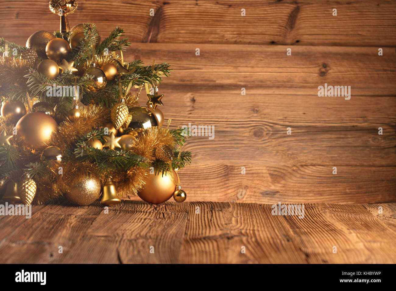 Christmas Decoration In Golden And Brownish Aesthetics With