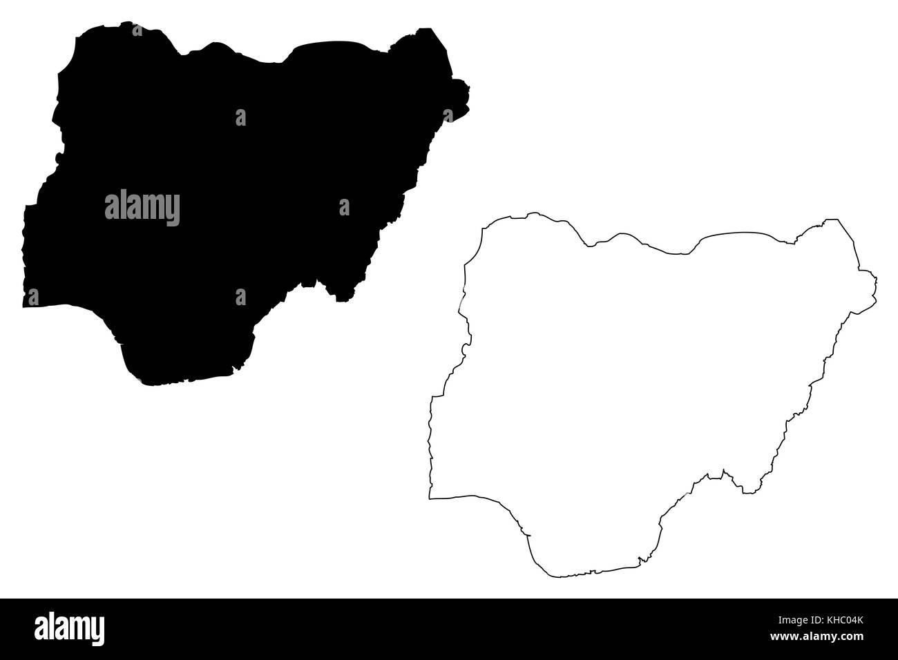 Nigeria map vector illustration, scribble sketch Federal Republic of Nigeria - Stock Image