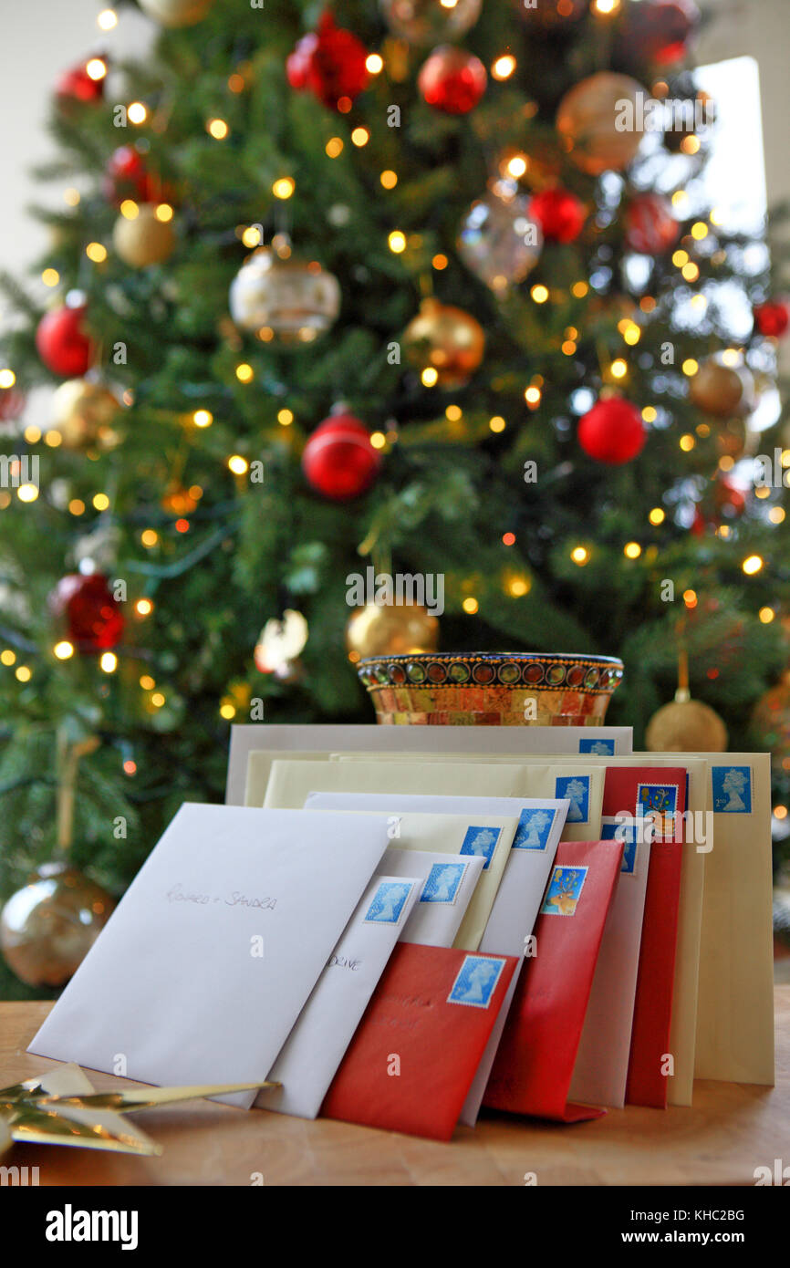 Addressed Christmas Cards.Pile Of Christmas Cards Ready For Posting In Front Of A