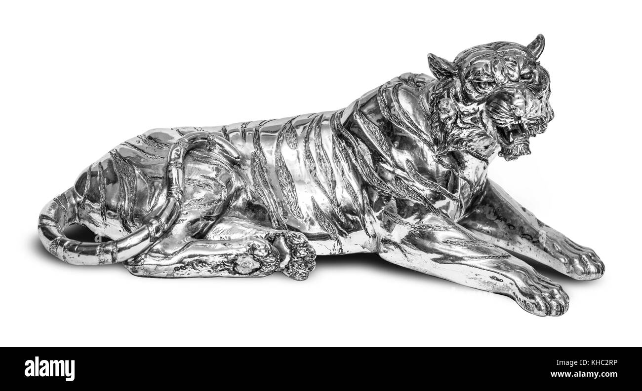 Beautiful tiger isolated on white background with clipping path - Stock Image