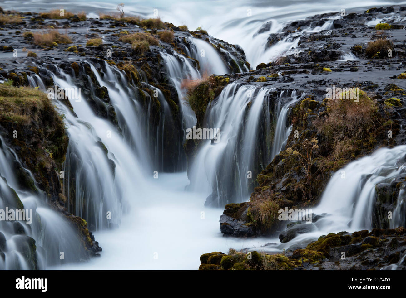 Brúarárfoss waterfall on the Golden Circle, a popular tourist route in Iceland. - Stock Image