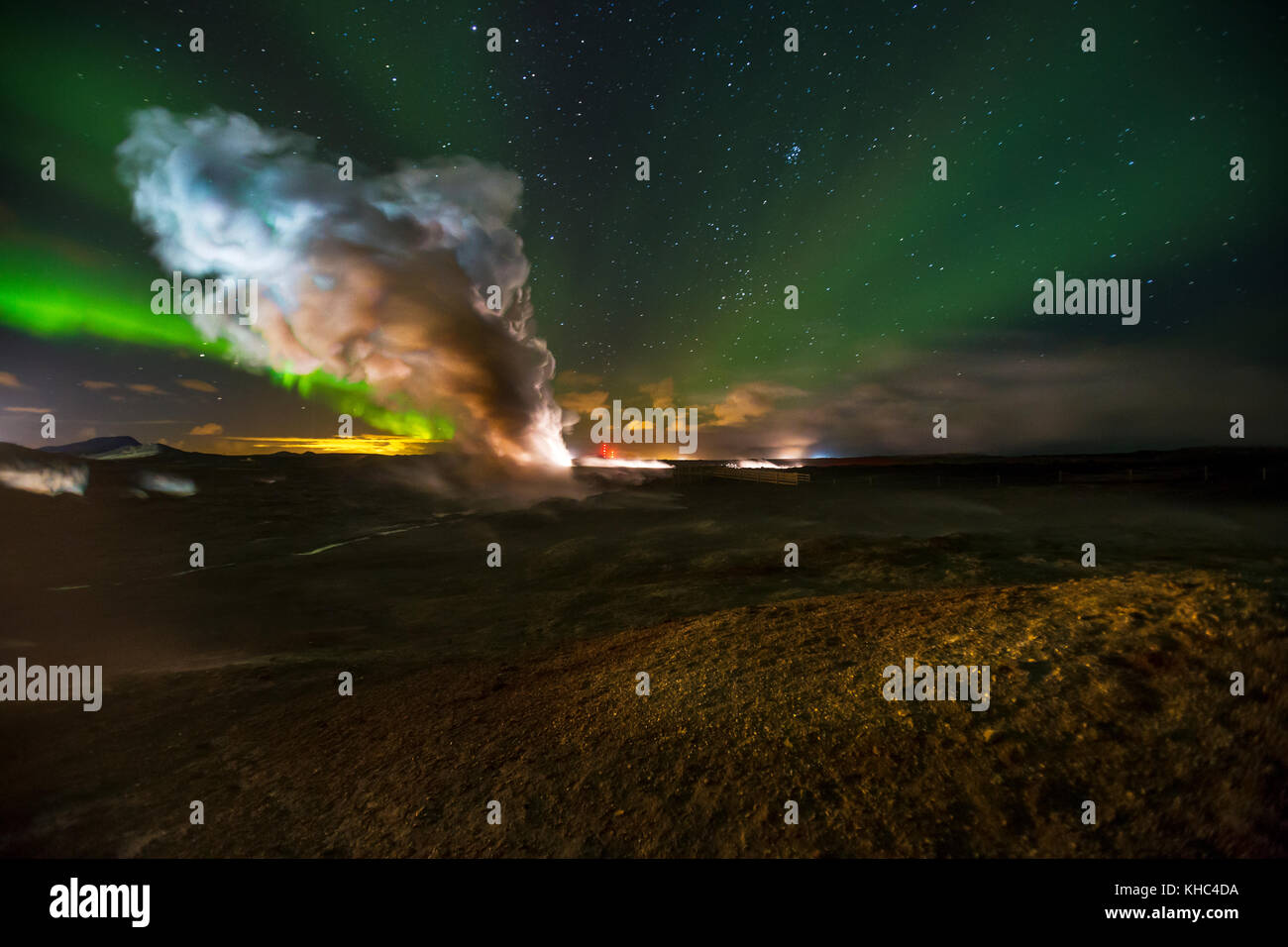 Northern lights over Gunnuhver, a geothermal geyser in Reykjanes peninsula. - Stock Image