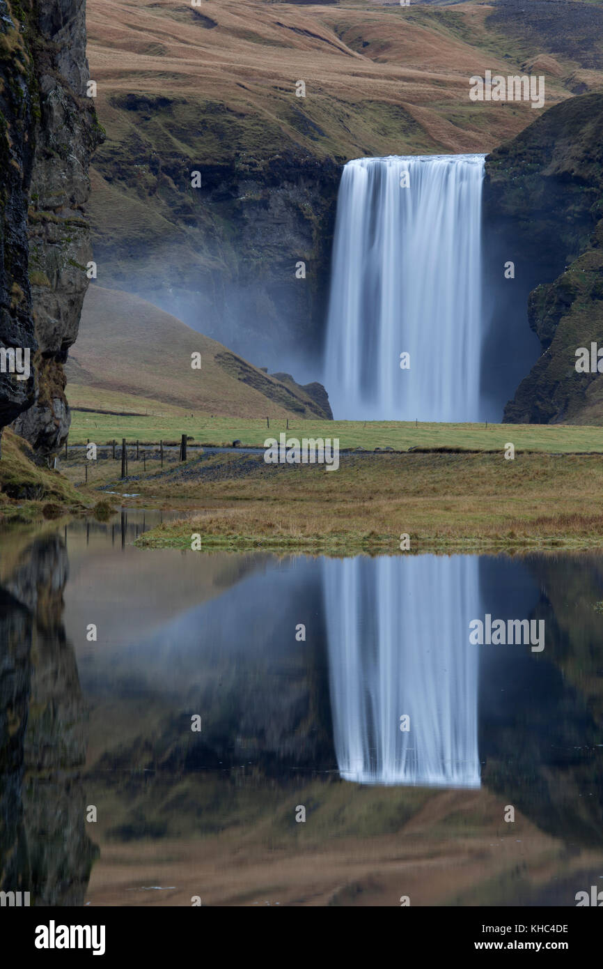 Skógafoss waterfall on the south coast of Iceland - Stock Image