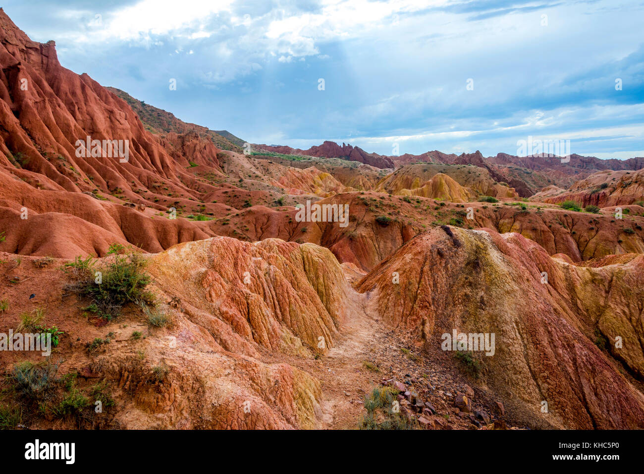 Colorful rock formations in Skazka aka Fairy tale canyon, Kyrgyzstan Stock Photo