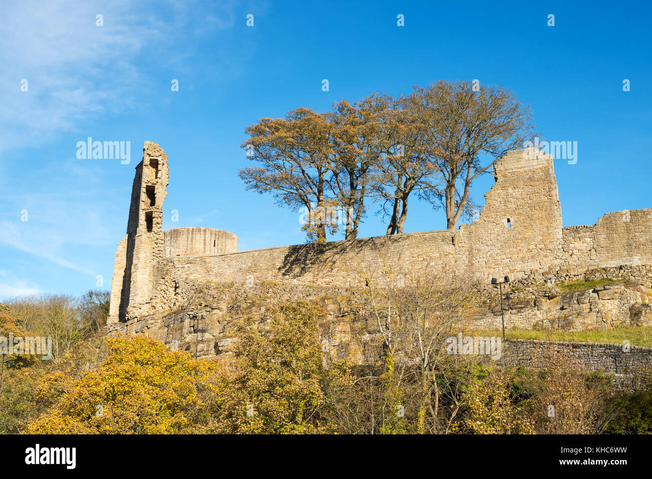 Remains of the town walls and castle, Barnard Castle, Co. Durham, England, UK - Stock Image