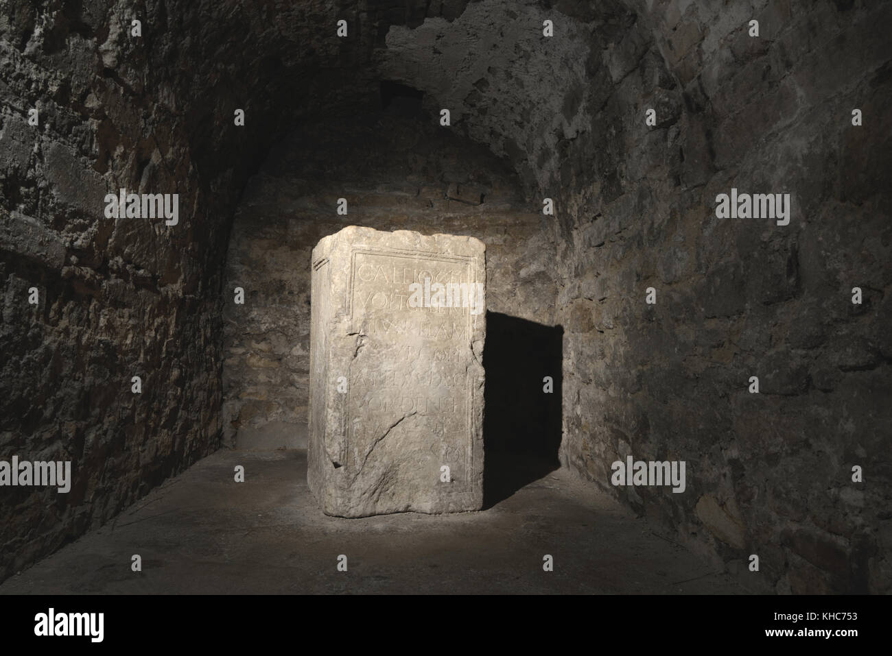 Roman Funerary Stele (c1-2nd) or Gravestone of Titus Camellius Aemillianus, in Lower Crypt of Apt Cathedral or Church, - Stock Image