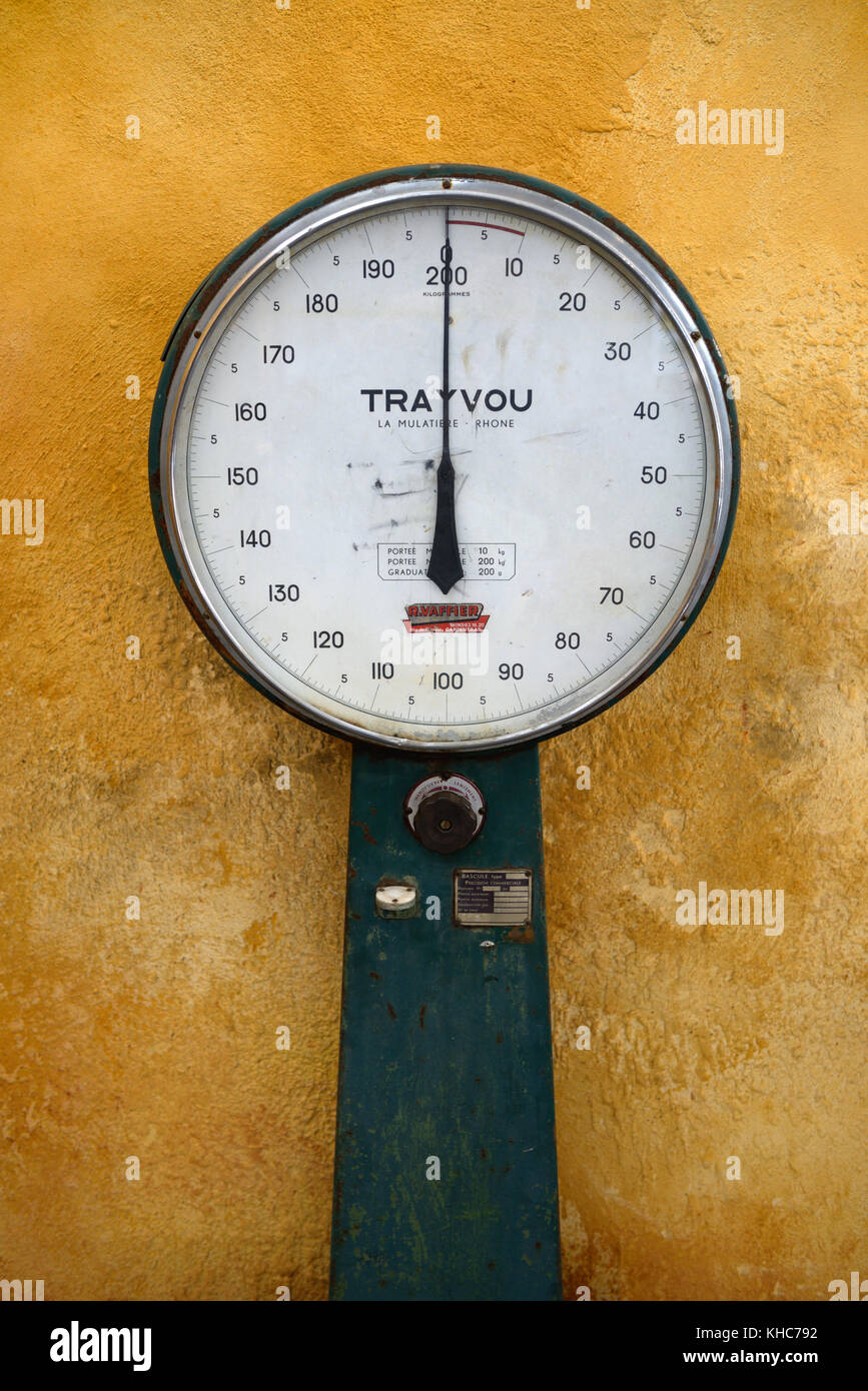 Vintage Balance, Weighing Machine, Mechanical Scale, or Weighing Scale, measured in kilograms. Made in Lyon, France, - Stock Image