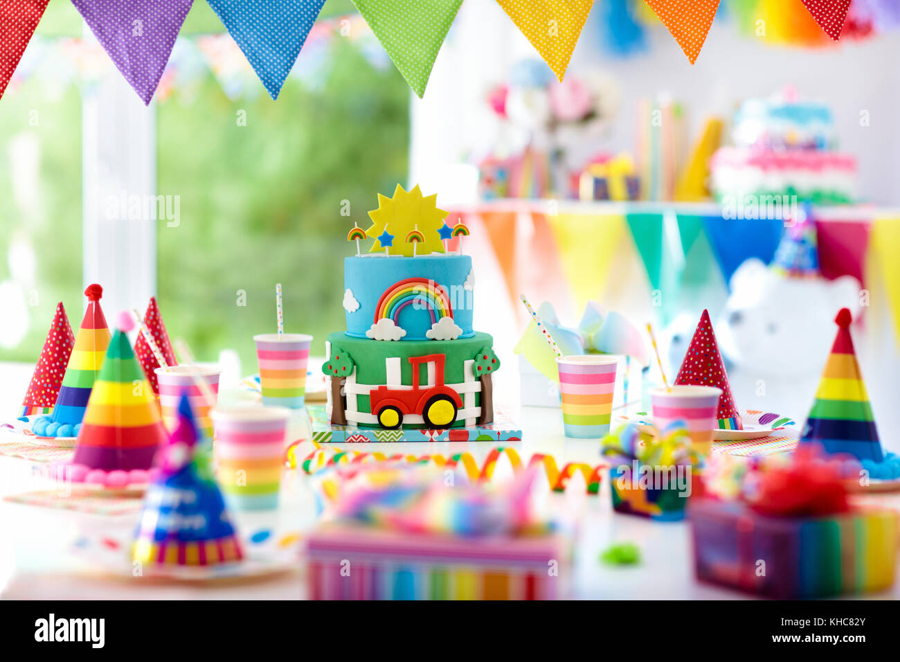 Kids Birthday Party Decoration Colorful Cake With Candles Farm And Stock Photo Alamy