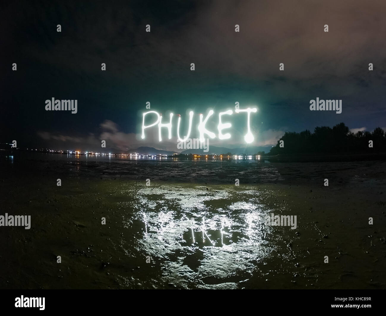 Phuket Text Word Made From Sparkle Light Paining In The Dark Night