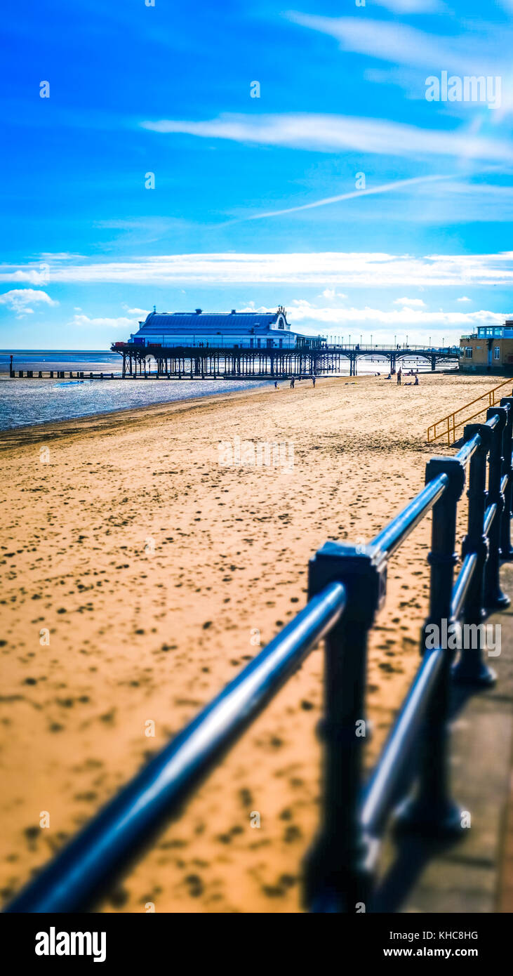 Pier and sandy beach at Cleethorpes, England, UK - Stock Image
