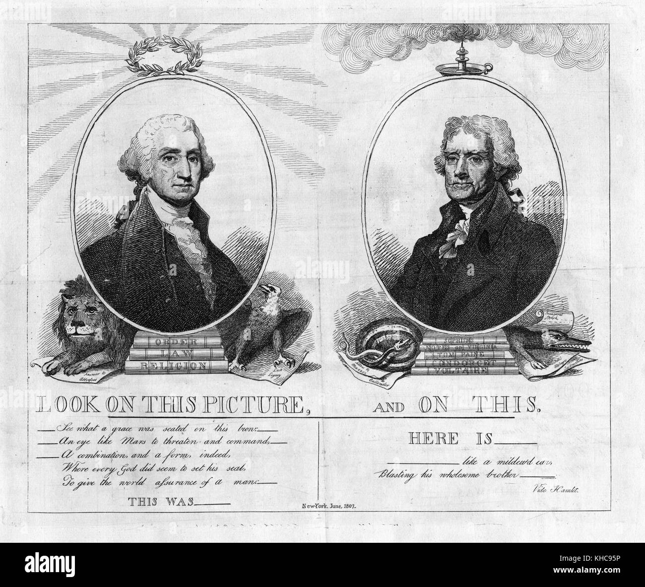 An engraving of a political cartoon comparing George Washington and Thomas Jefferson, using select quotations from - Stock Image