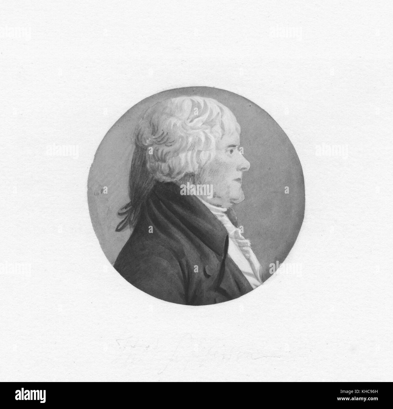 A profile view portrait of Thomas Jefferson, older and heavier than typically depicted, 1804. From the New York - Stock Image