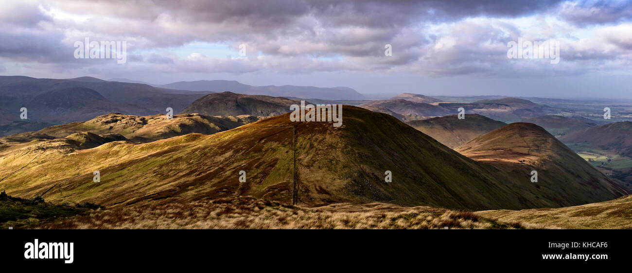 Panoramic view of Raise Dodd and The Nab from the summit of Knott, Lake District. - Stock Image