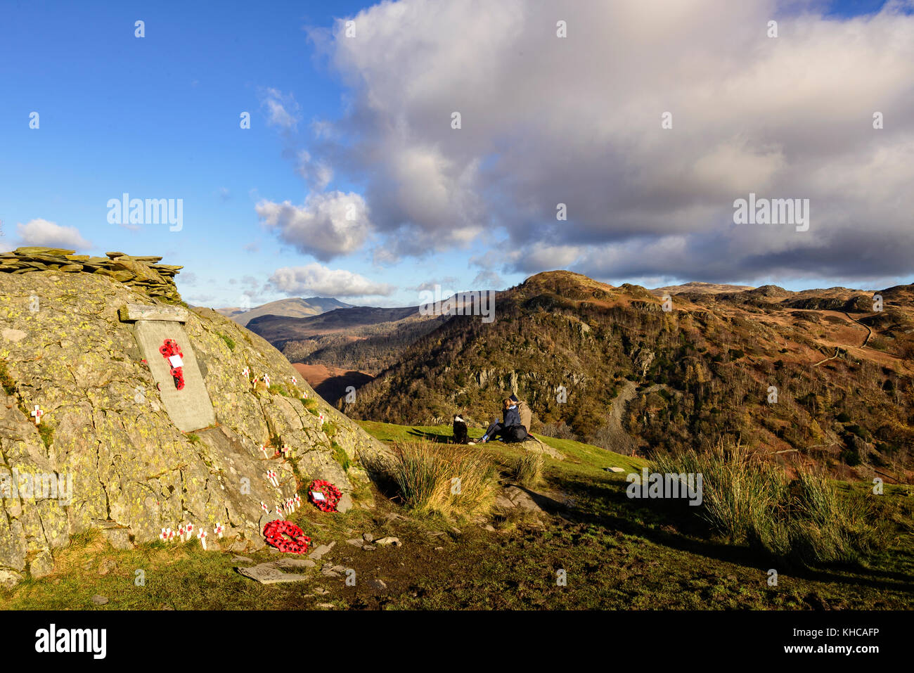 Most beautifully located war memorial on the summit of Castle Crag in Borrowdale, Lake District, after the annual - Stock Image
