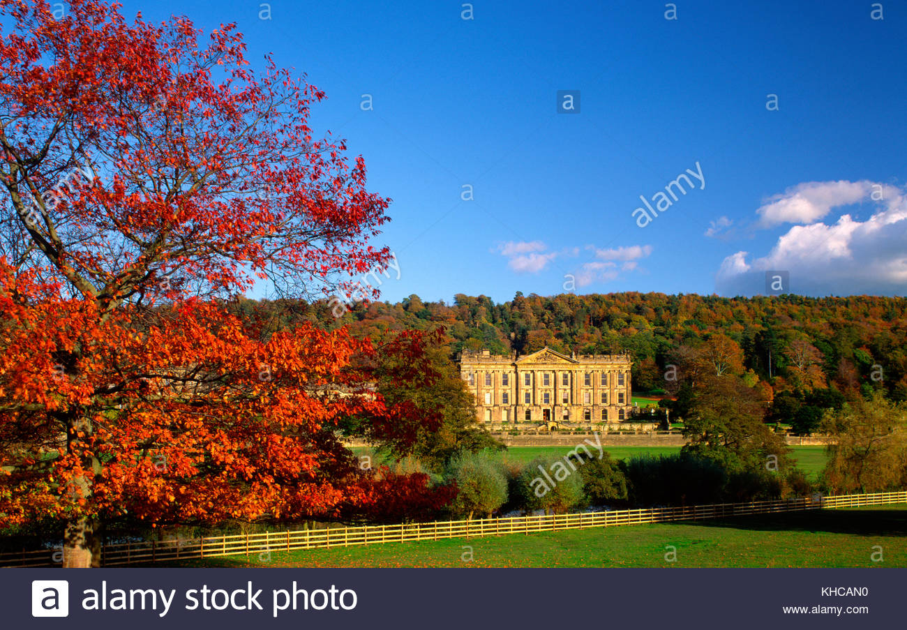 Chatsworth House in autumn, near Bakewell, Derbyshire, England, UK. - Stock Image
