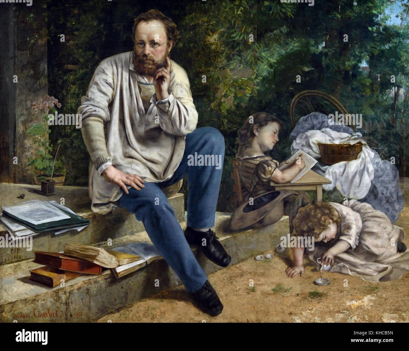 Pierre Joseph Proudhon et ses enfants 1853 Jean Désiré Gustave Courbet 1819 – 1877 French France Stock Photo