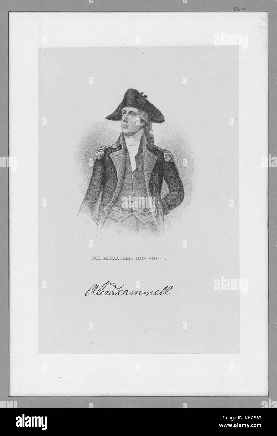 Engraved portrait of Colonel Alexander Scammell, officer in the Continental Army during the American Revolutionary - Stock Image