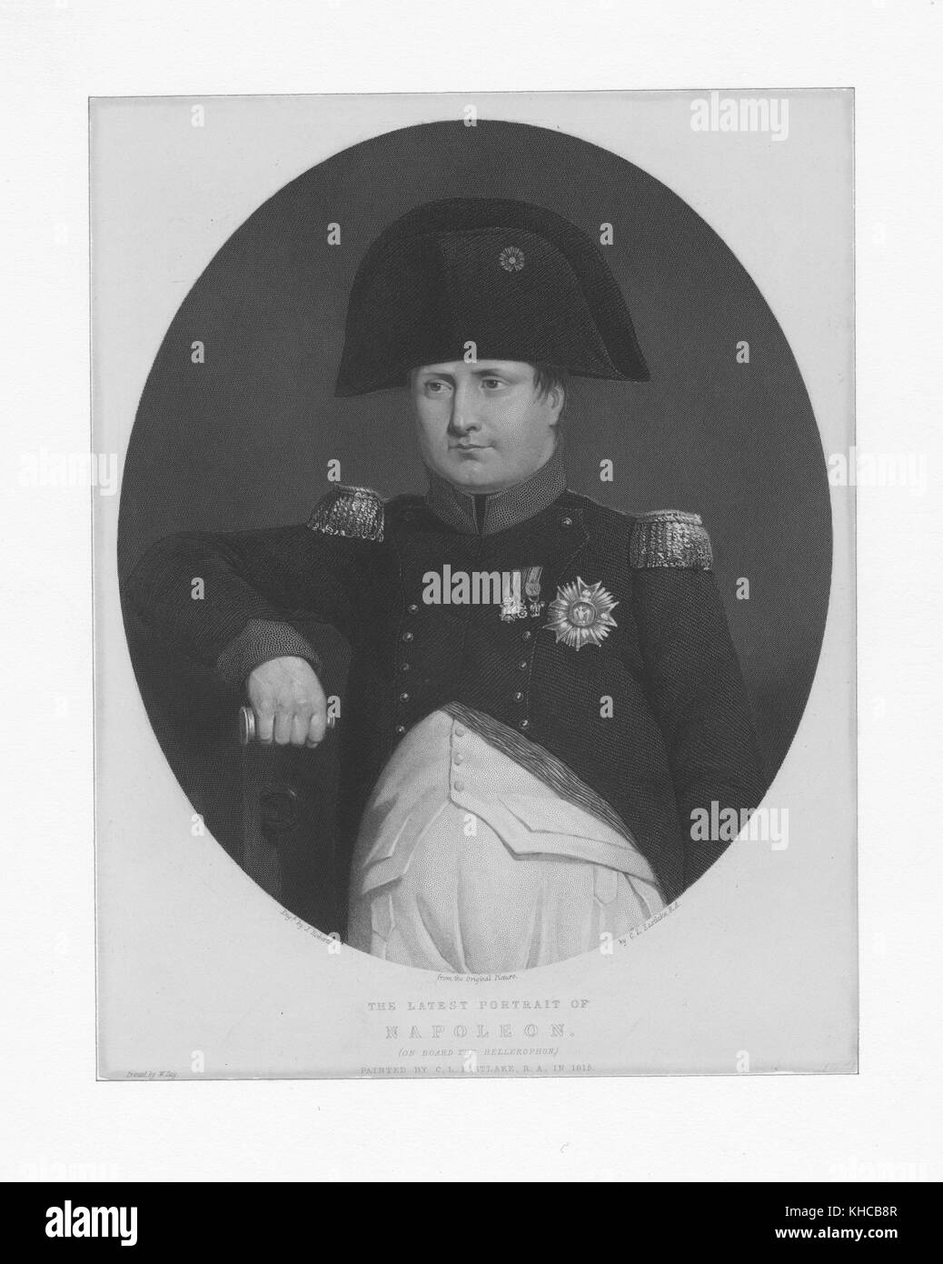 Engraved half length portrait of Napoleon Bonaparte, French military and political leader during the French Revolution - Stock Image