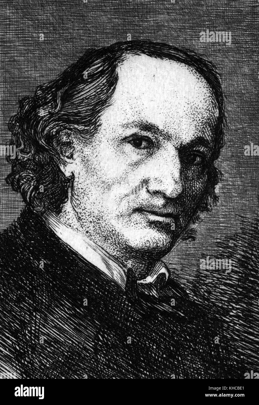 Etched portrait of a mature Charles Baudelaire, French poet who also produced notable work as an essayist, art critic, - Stock Image