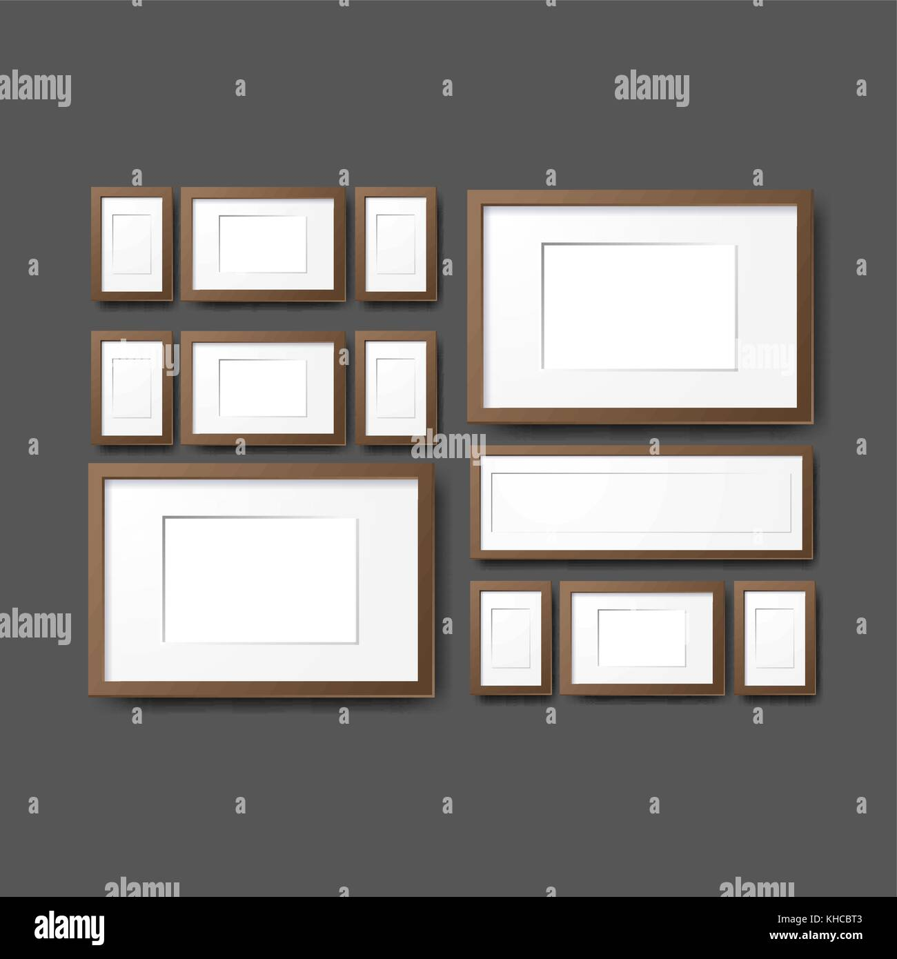 Mockup Modern Empty Frames On Wall. Layout Template. Realistic Vector  Mockup Illustration. Eps10