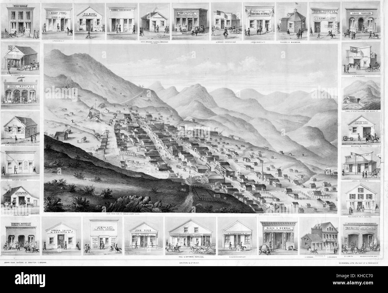 An engraving from an illustration of Virginia City as seen from above, several dozen buildings can be seen among - Stock Image