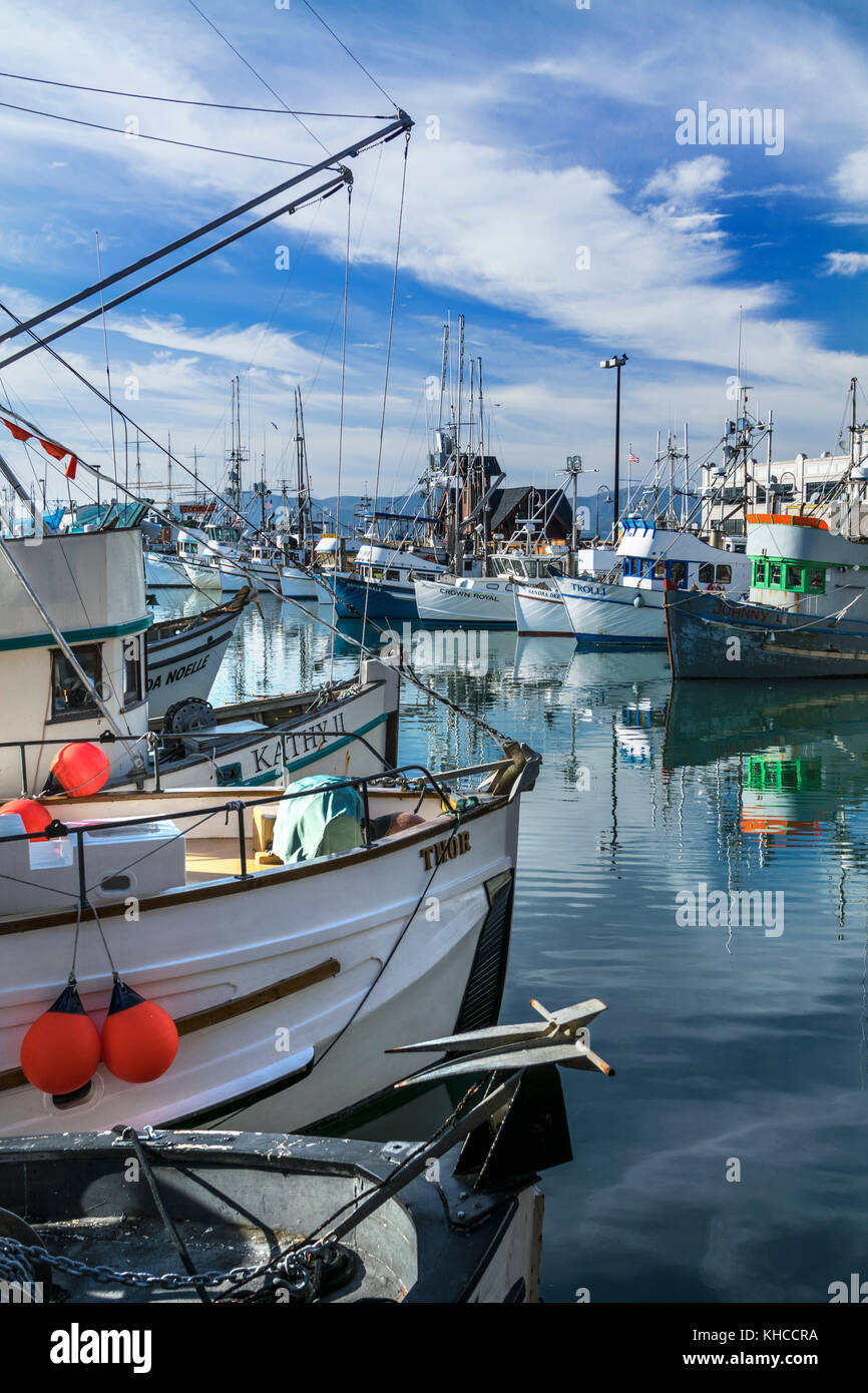 Fisherman's Grotto fishing fleet providing fresh Dungeness crab, Lobster  and varieties of Pacific crustacea - Stock Image