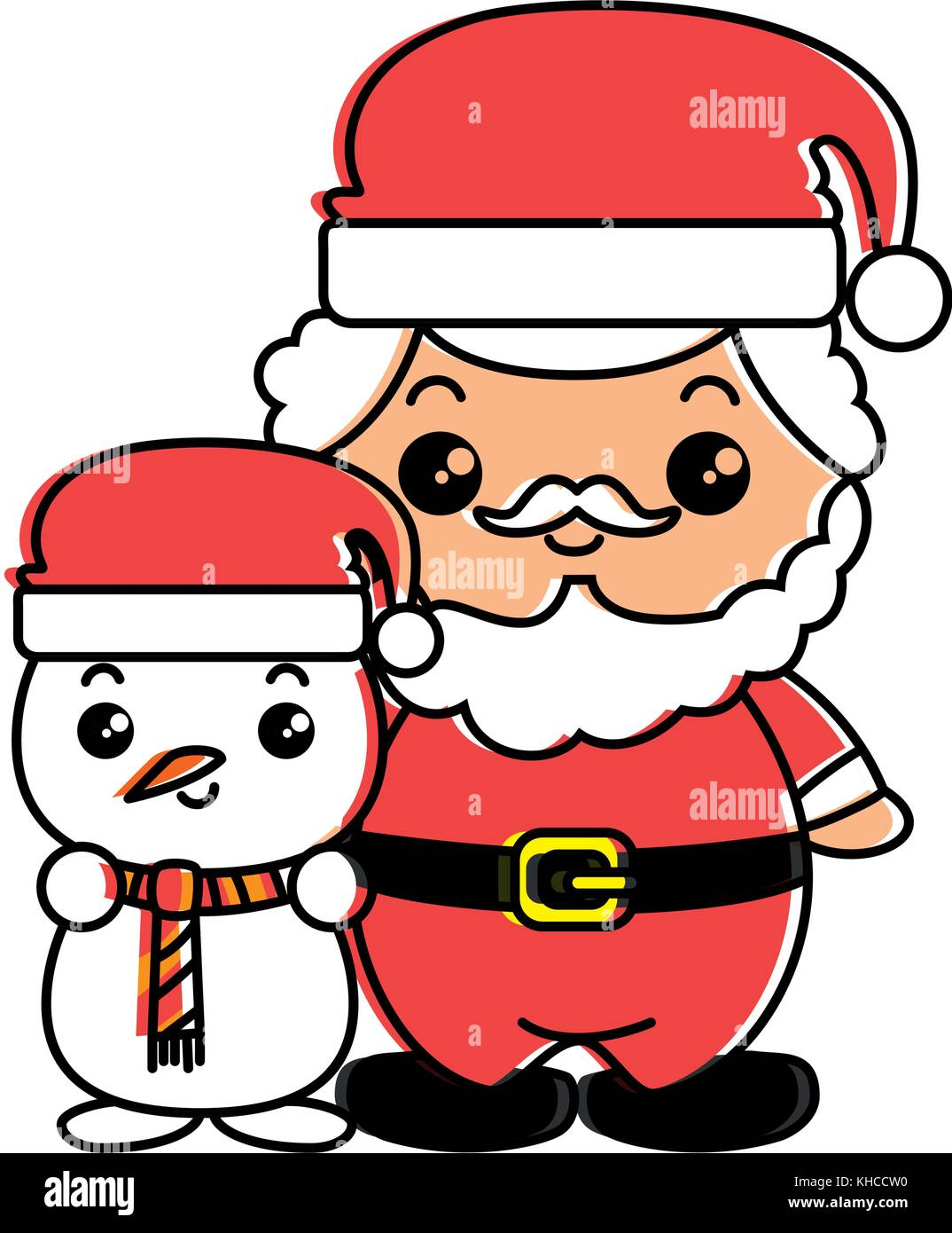 Cute Santa Claus With Snowman Kawaii Characters Vector Illustration Stock Vector Image Art Alamy