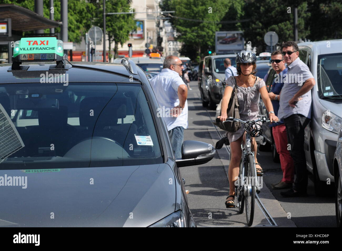 Taxi drivers protest against Uberpop drivers service, Lyon, France Stock Photo