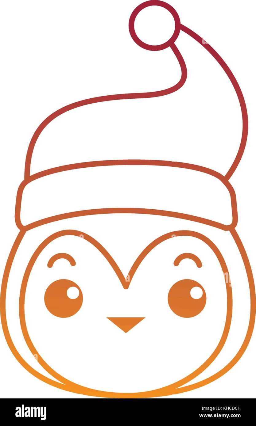 01a85aeef2f04 cute penguin head with christmas hat kawaii vector illustration design