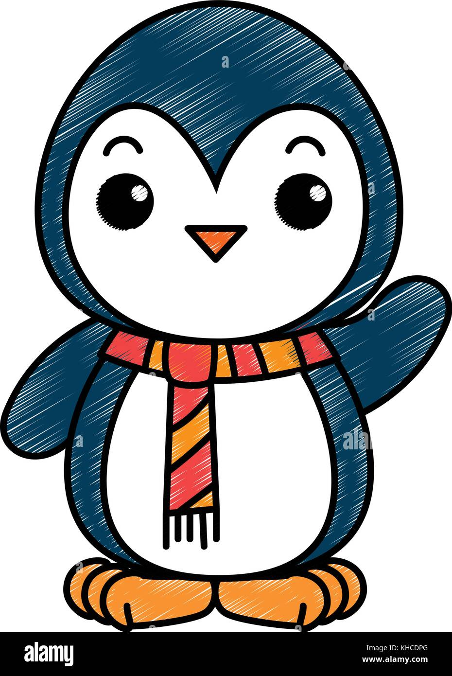 813db7c85cd63 cute penguin with christmas scarf kawaii vector illustration design ...
