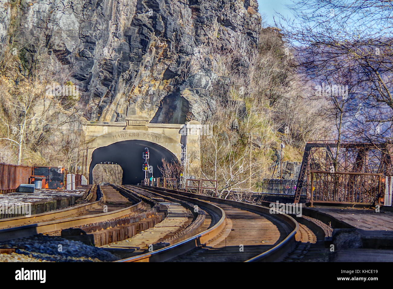 View along the eastbound direction of the former Baltimore and Ohio Railroad, and Harpers Ferry Tunnel in Harpers - Stock Image