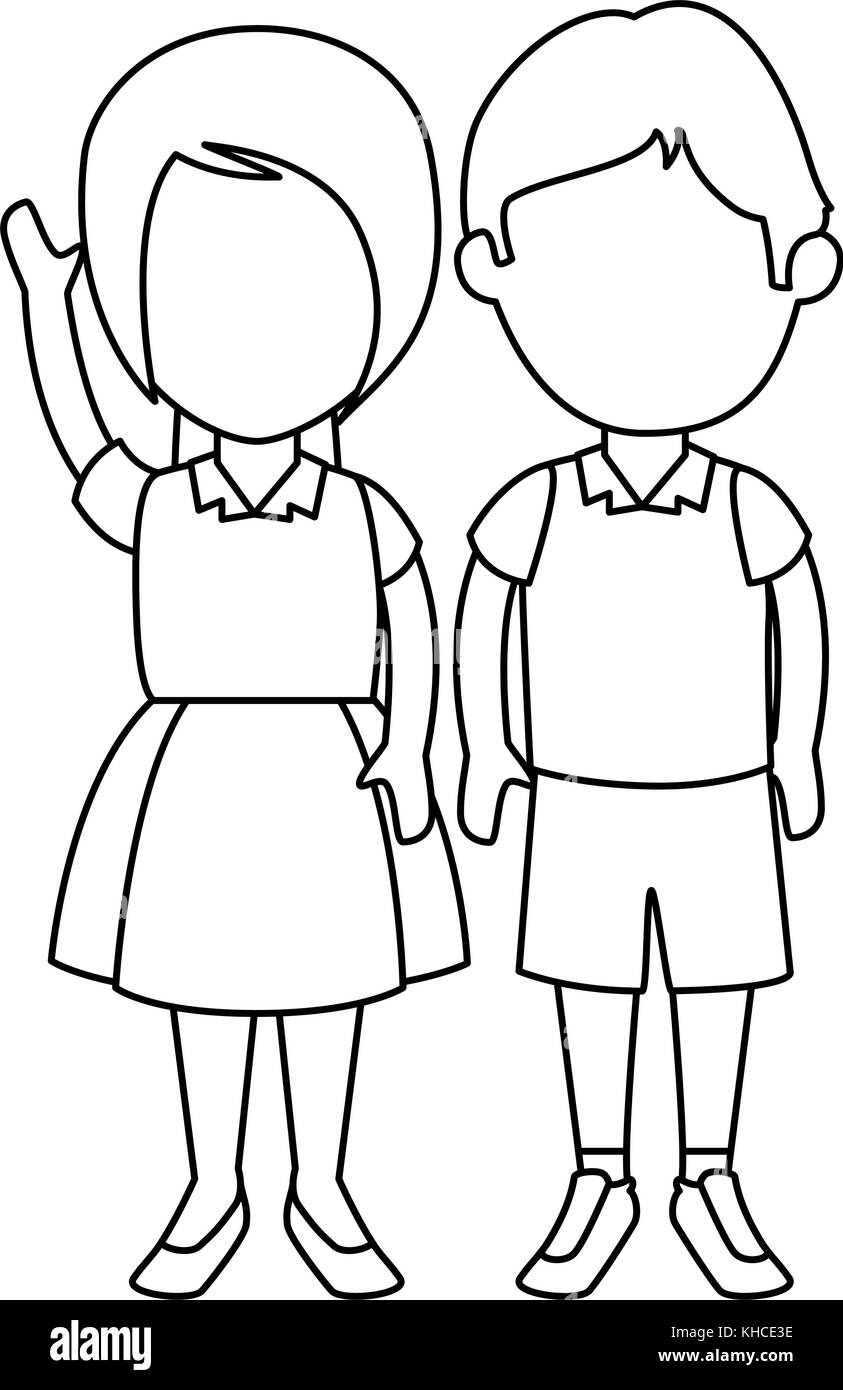 school children uniform black and white stock photos & images - alamy