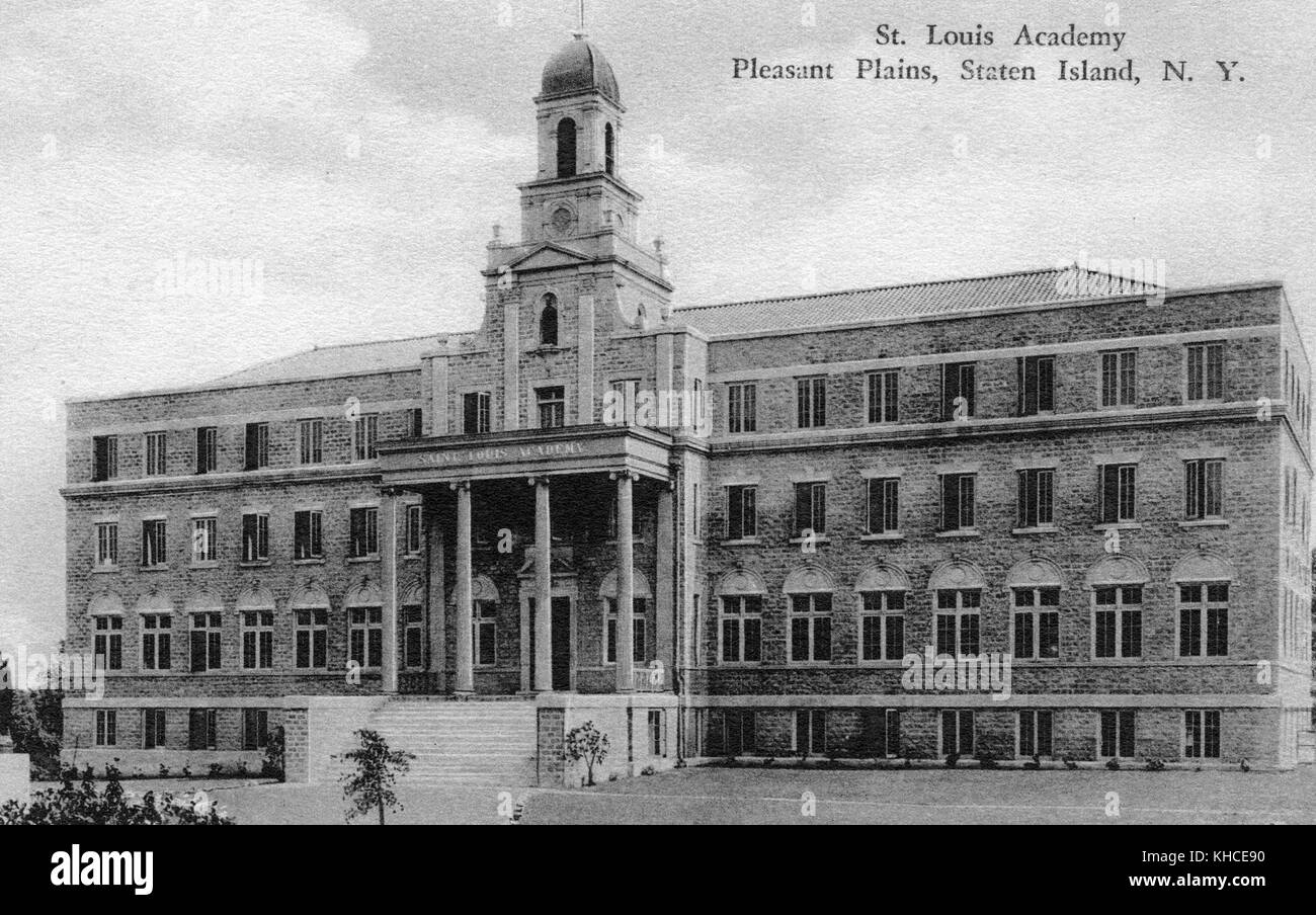 A postcard from a photograph of the exterior of St Louis Academy, the school is a large brick faced four story building, - Stock Image