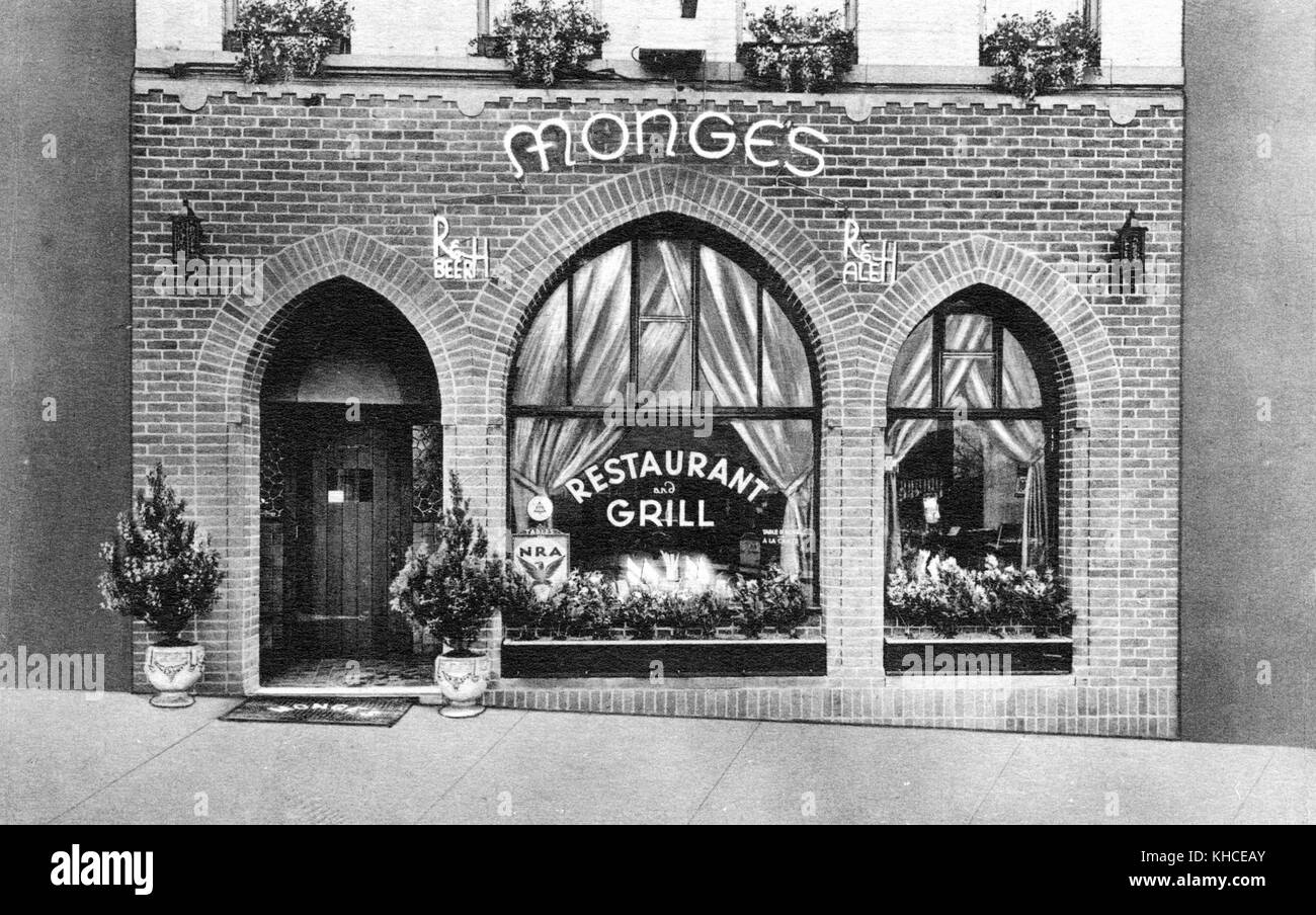 A photograph of the exterior of Monge's Restaurant and Grill, the brick faced restaurant has large windows nestled - Stock Image