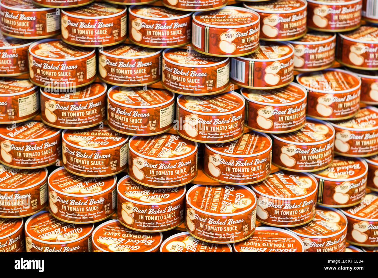 A display of Trader Joe's giant baked beans in tomato sauce cans in New York on Tuesday, November 7, 2017. (© - Stock Image