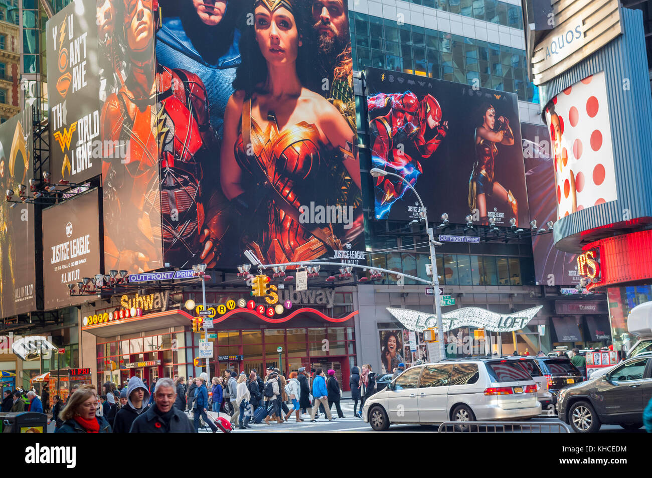 Advertising for the Warner Bros'  'Justice League' film is seen in Times Square in New York on Sunday, - Stock Image
