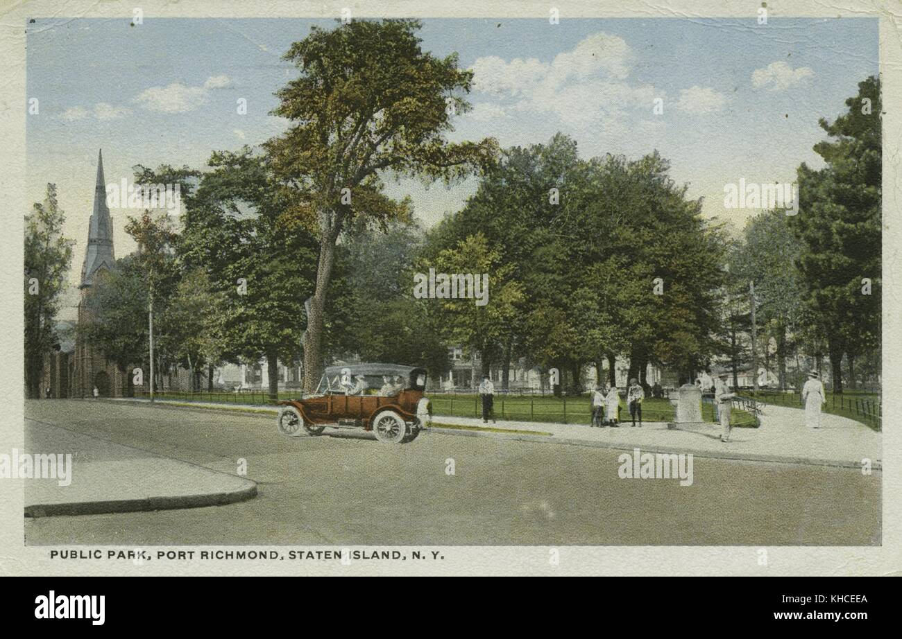 A postcard from an image of a public park, people can be seen around the periphery of the park while a car is shown - Stock Image