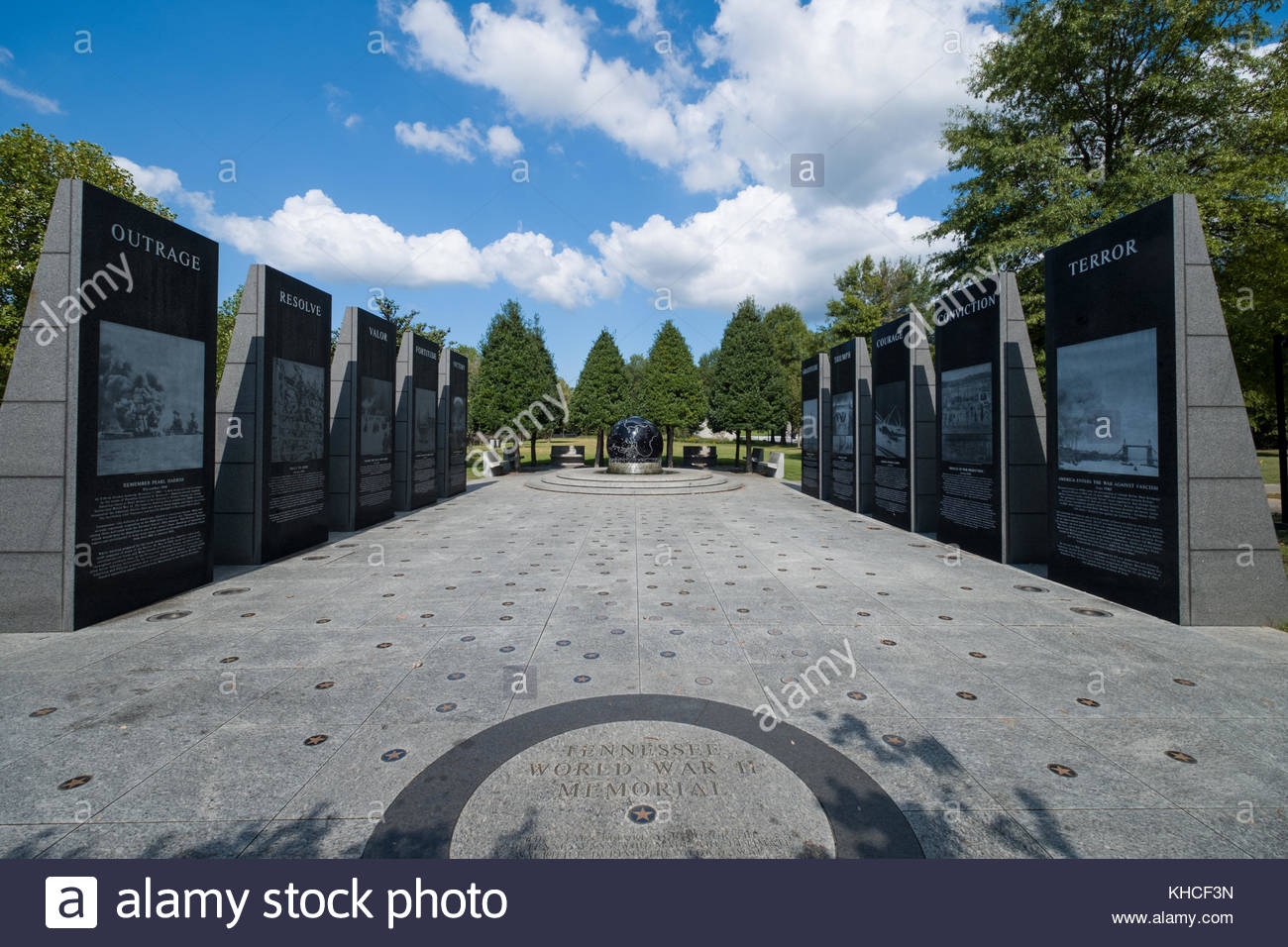 World War II Memorial, Bicentennial Capitol Mall State Park, Nashville, Davidson County, Tennessee, USA Stock Photo