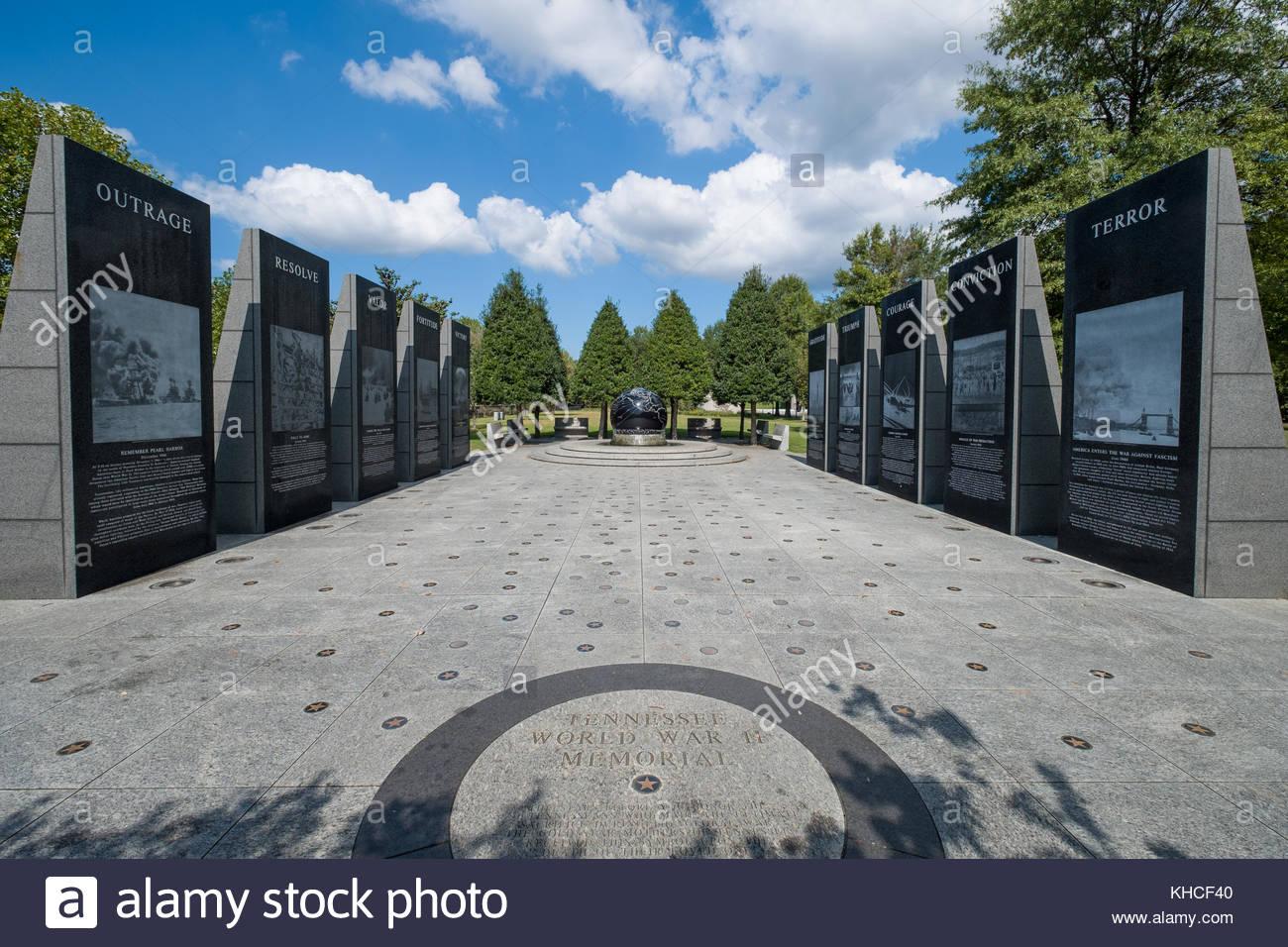 World War II Memorial, Bicentennial Capitol Mall State Park, Nashville, Davidson County, Tennessee, USA Stock Photo