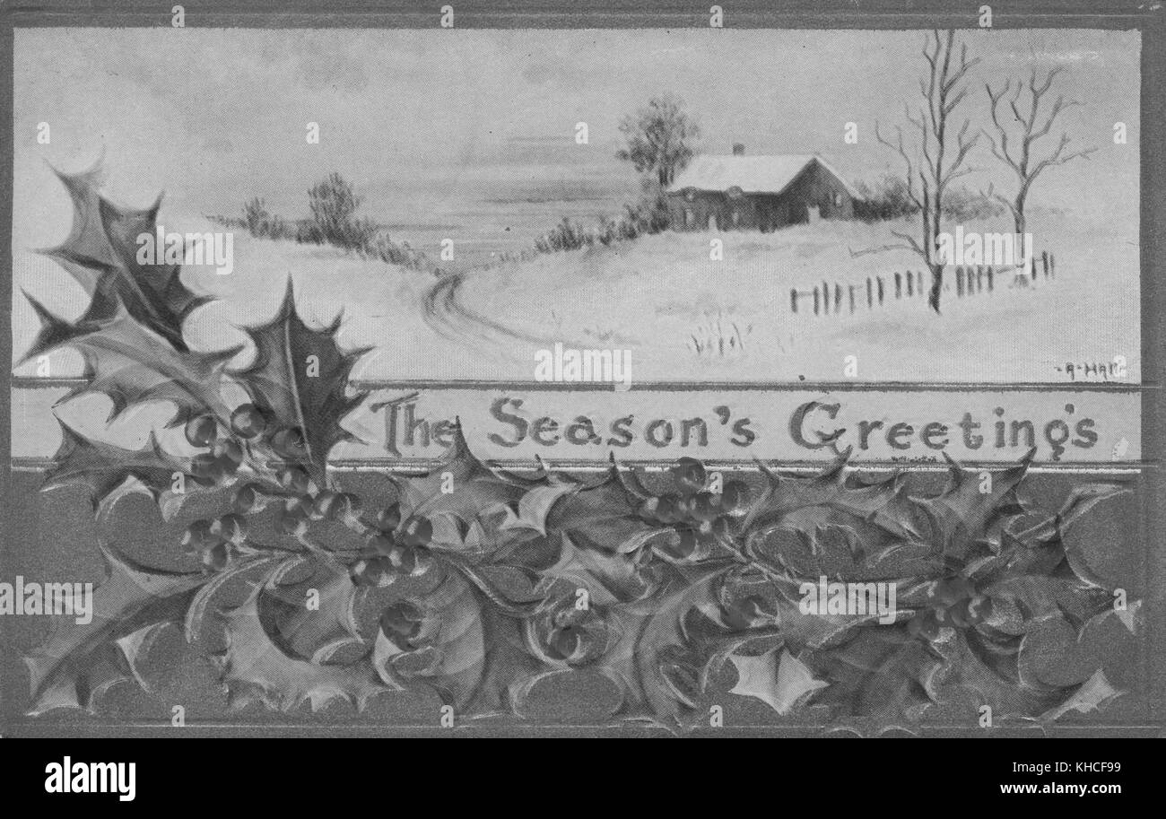 A postcard featuring a winter scene, a house can be seen sitting on a snow covered crest while trees and a fence Stock Photo