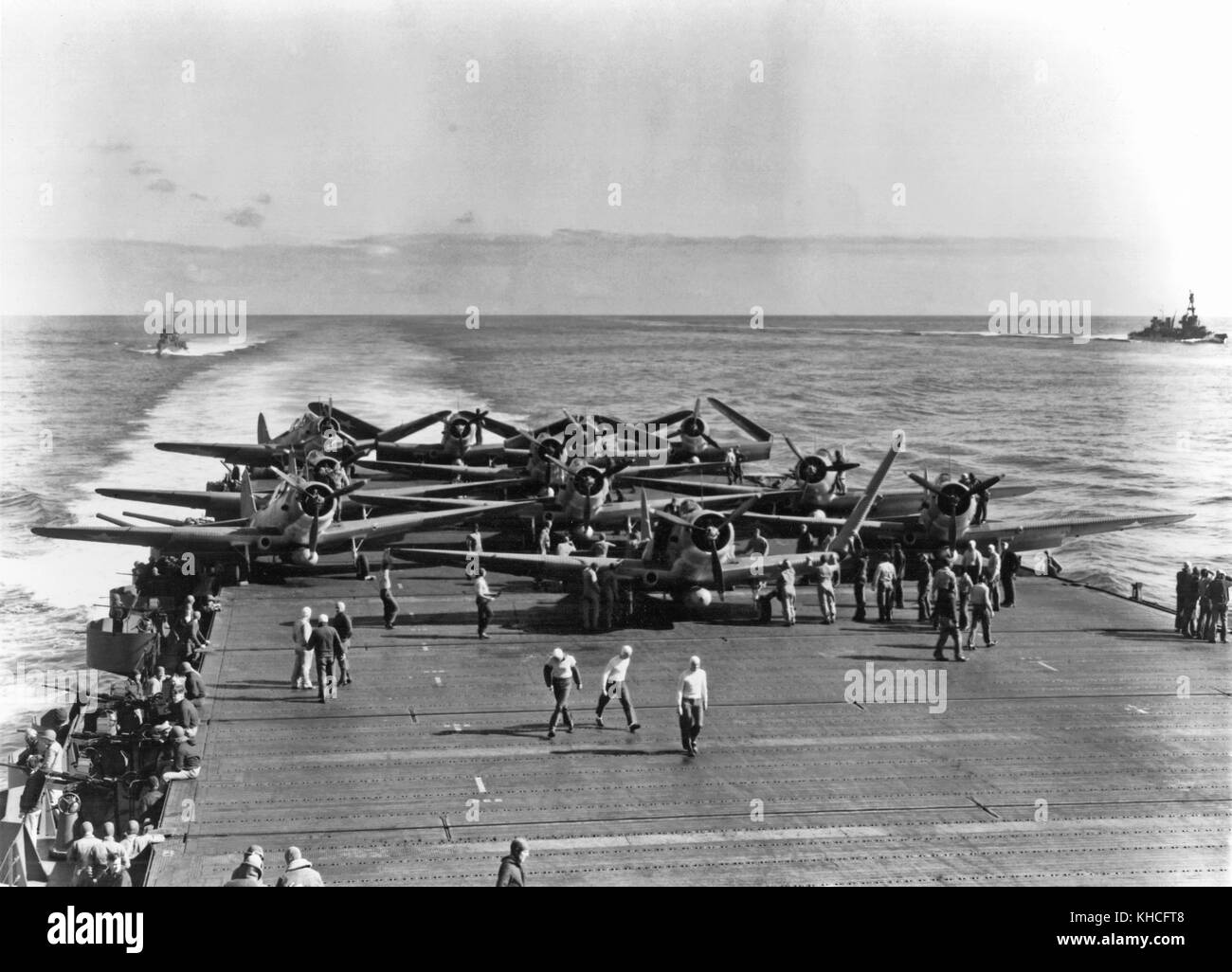 U.S. Navy Torpedo Squadron Six (VT-6) TBD-1 aircraft are prepared for launching on USS Enterprise (CV-6) at about - Stock Image
