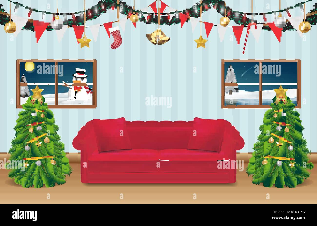 night christmas party room decorated background - Stock Vector