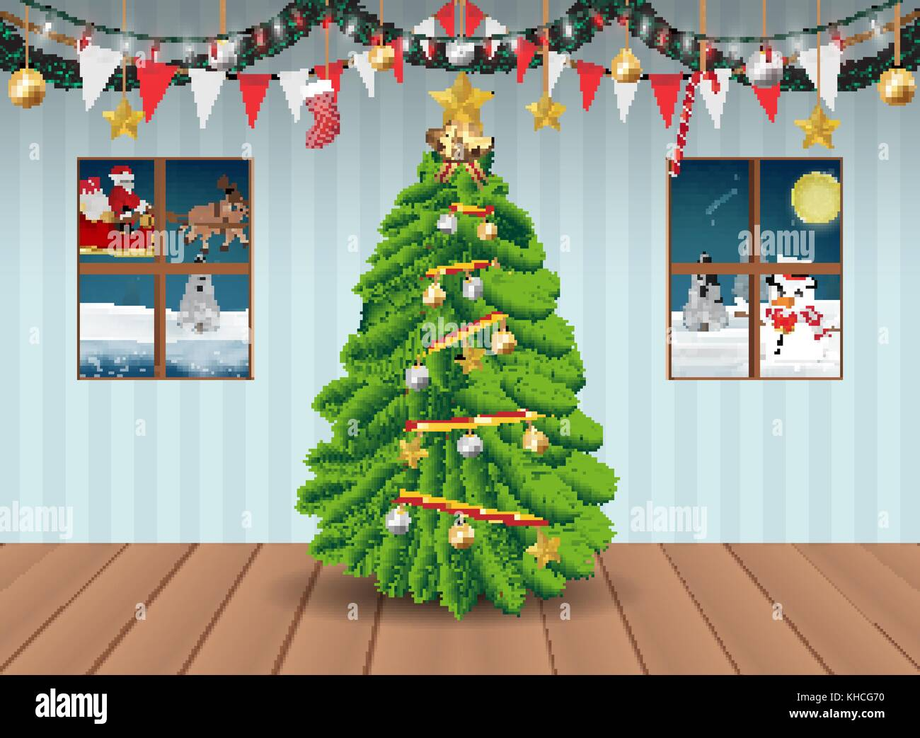 christmas tree in party room decorated background - Stock Vector