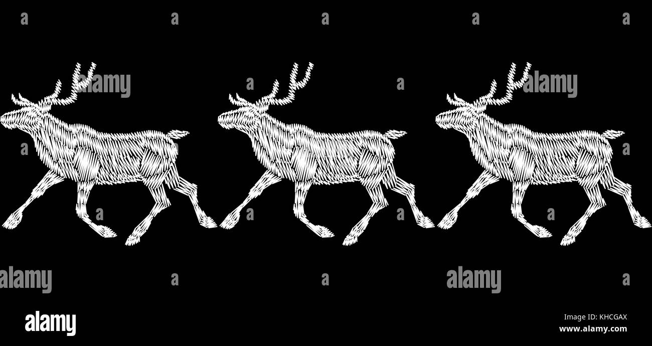reindeer christmas sleigh gift delivery embroidery seamless bordermonochrome white black new year fashion decoration deer cart textile realistic print